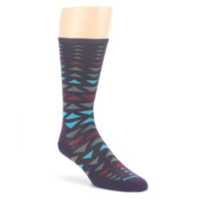 Bordeaux-Multicolor-Triangles-Wool-Mens-Casual-Socks-Smartwool