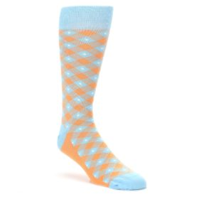 Orange Blue Diamond Plaid Men's Dress Socks by Statement Sockwear