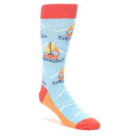 Blue Orange Sailboat Socks by Statement Sockwear for Men