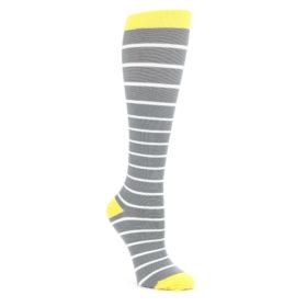 Gray-Yellow-White-Stripes-Womens-Compression-Dress-Socks-Vim-Vigr