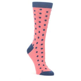 Coral-Navy-Polka-Dot-Womens-Dress-Socks-Statement-Sockwear