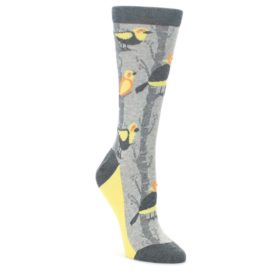 Gray-Yellow-Birds-Womens-Dress-Socks-Statement-Sockwear