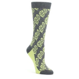 Charcoal-Lime-Leaf-Pattern-Womens-Dress-Socks-Statement-Sockwear
