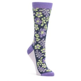 Purple-Navy-Hawaiian-Flower-Womens-Dress-Socks-Statement-Sockwear