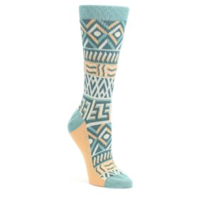 Green-Orange-Tribal-Pattern-Womens-Dress-Socks-Statement-Sockwear