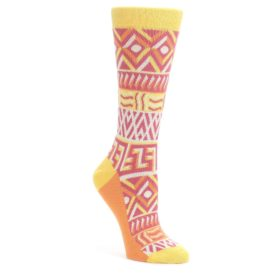 Red-Yellow-Orange-Tribal-Pattern-Womens-Dress-Socks-Statement-Sockwear