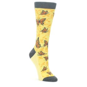 Yellow-Orange-Butterfly-Womens-Dress-Socks-Statement-Sockwear