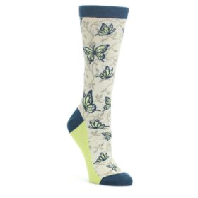 Beige Navy Lime Butterfly Women's Dress Socks