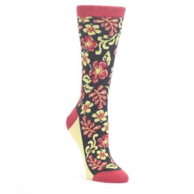 25665-Charcoal-Red-Yellow-Hawaiian-Flower-Womens-Dress-Socks-Statement-Sockwear