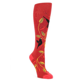 Red-Yellow-Bird-Leaf-Darling-Starlings-Womens-Knee-High-Sock-Sock-It-To-Me
