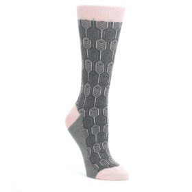 Pink-Gray-Feather-Optics-Womens-Dress-Socks-Statement-Sockwear