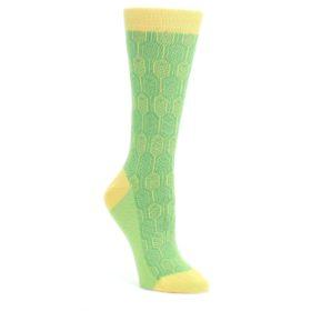 Green-Yellow-Feather-Optics-Womens-Dress-Socks-Statement-Sockwear