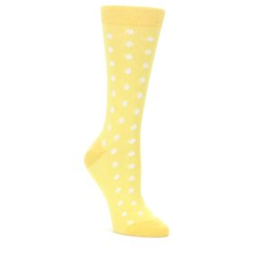 Sunbeam-Yellow-Polka-Dot-Womens-Dress-Socks-Statement-Sockwear