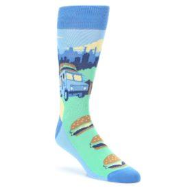 Blue-Food-Truck-Burgers-Mens-Dress-Socks-Statement-Sockwear