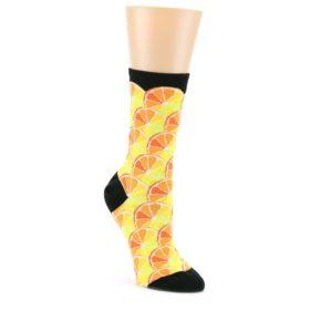 Orange-Yellow-Black-Citrus-Fruit-Womens-Dress-Socks-Mod-Sock