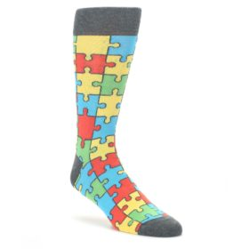 Multi-Color-Puzzle-Pieces-Mens-Dress-Socks-Statement-Sockwear