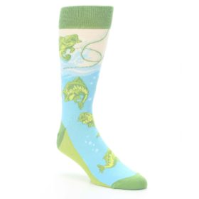 Green-Blue-Fishing-Lure-Mens-Dress-Socks-Statement-Sockwear