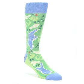Green-Blue-Golf-Course-Mens-Dress-Socks-Statement-Sockwear