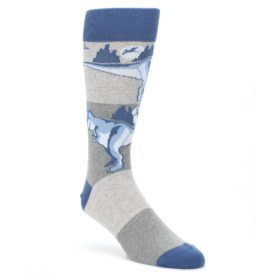 Blue-Gray-Dinosaurs-Mens-Dress-Socks-Statement-Sockwear