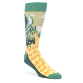 Green-Dragon-Blowing-Fire-Mens-Dress-Socks-Statement-Sockwear