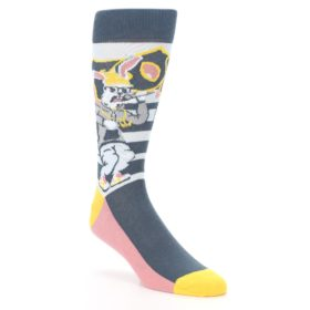 Gray-Light-Blue-Rappin-Rabbit-Mens-Dress-Socks-Statement-Sockwear