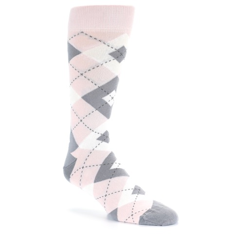 Light Pink Grey Argyle Wedding Men&39s Dress Socks – boldSOCKS