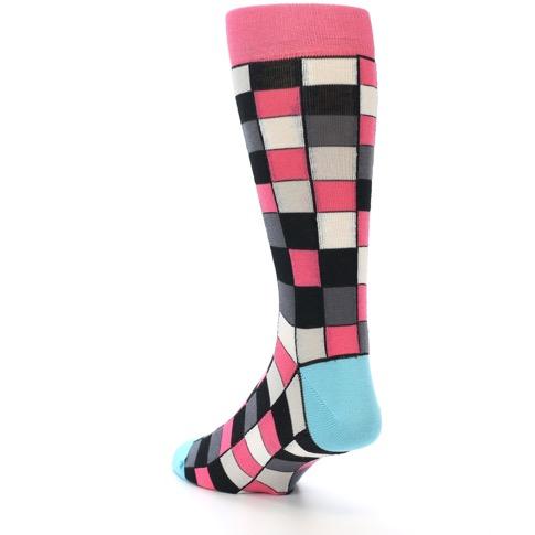 Bright Pink Grey Black Checkered Men's Dress Socks #1: Bright Pink Grey Black Checkered Men s Dress Socks Statement Sockwear15