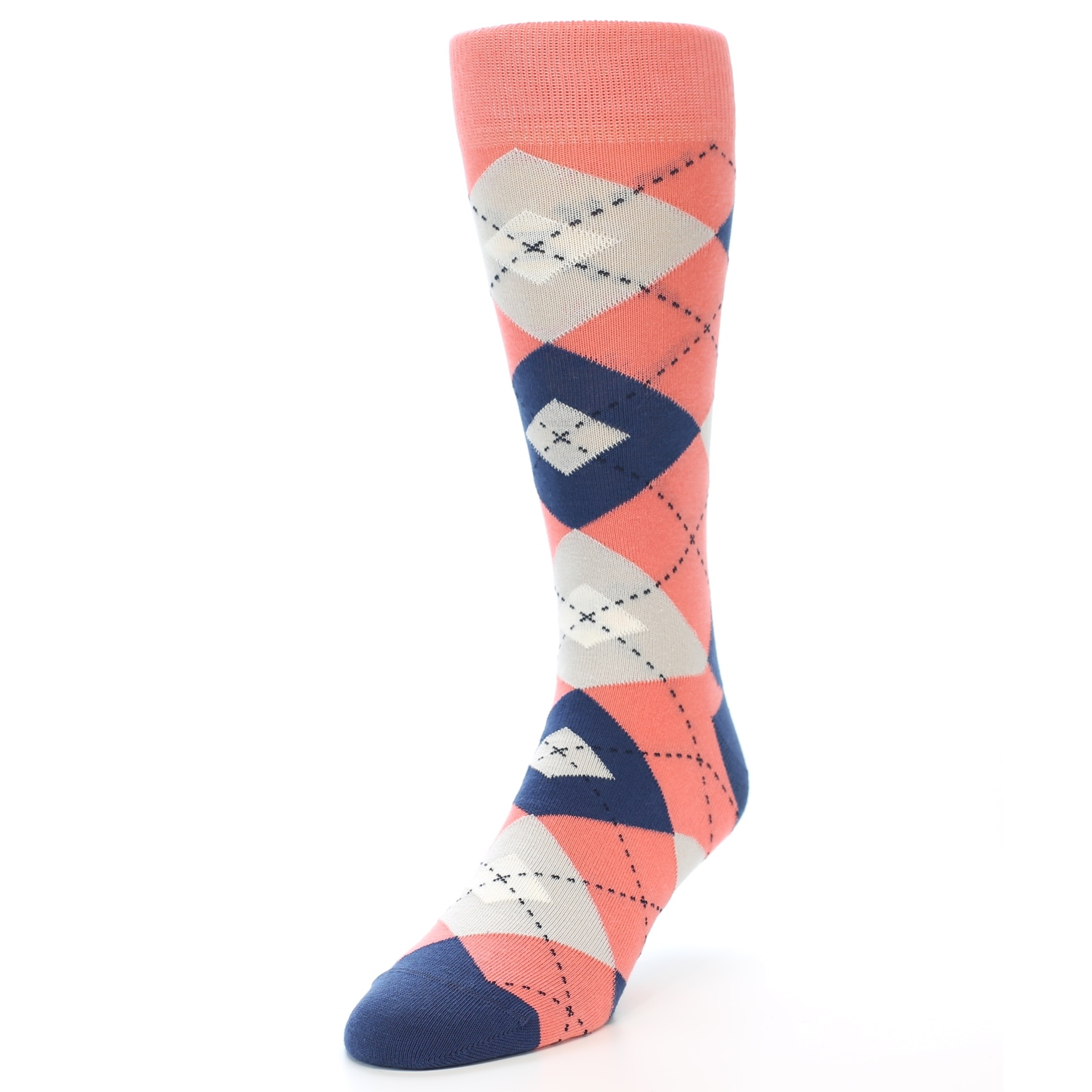 Coral Navy Argyle Wedding Groomsmen Men's Dress Socks – boldSOCKS