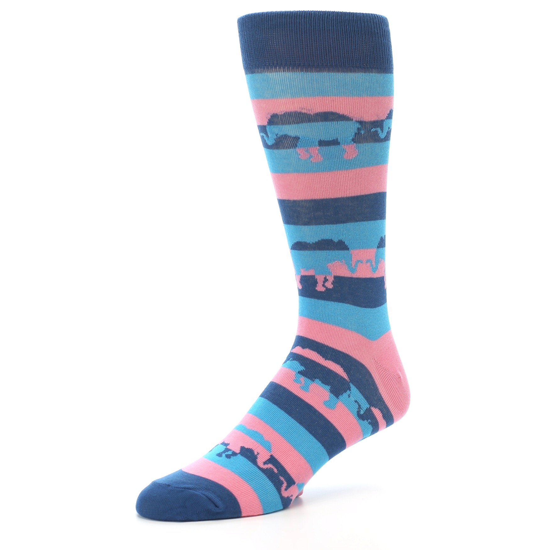 Pink Blue Stripe Elephants Men&39s Dress Socks – boldSOCKS