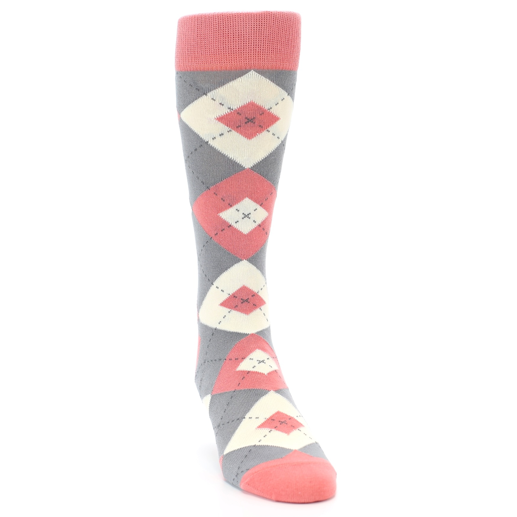 Coral Grey Argyle Wedding Groomsmen Men's Dress Socks – boldSOCKS
