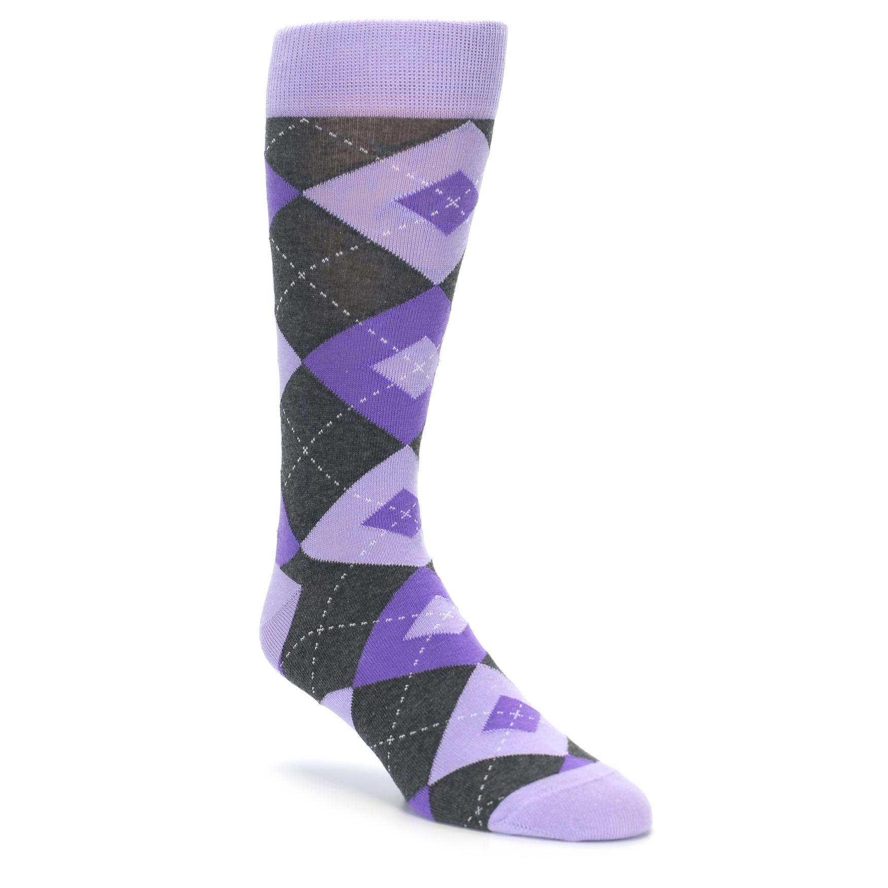 Lilac Iris Purple Argyle Wedding Socks For Groomsmen