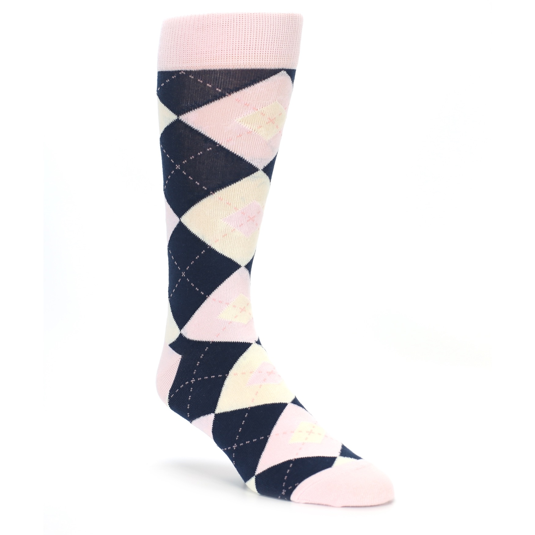 Petal Pink And Navy Argyle Wedding Socks For Groomsmen