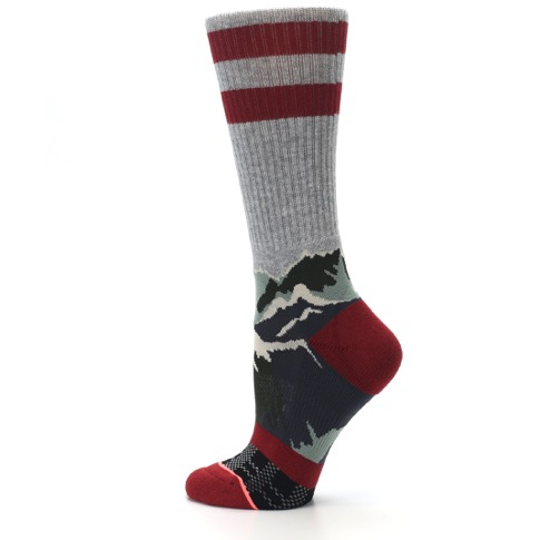 Gray Red Happy Camper Mountain Women's Casual Sock - STANCE