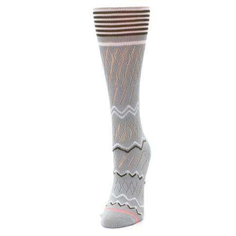 Gray White Brown Zig-Zag Women's Casual Sock - STANCE
